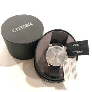 Citizen CTO Silver Dial Leather Strap Men's Watch